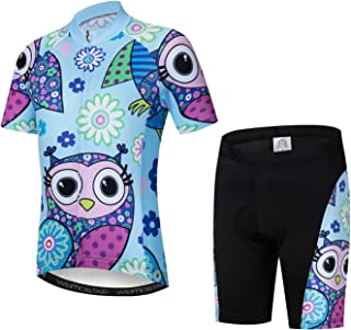 Kids Cycling Jersey Set with 3D Padded Shorts Cartoon Bike Top