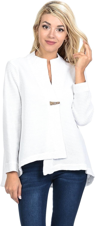 Focus Fashion Women's Cotton Waffle One Button Swing Jacket & Mini Waffle Hooded