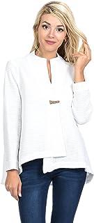 Focus Fashion Women`s Cotton Waffle One Button Swing Jacket & Mini Waffle Hooded