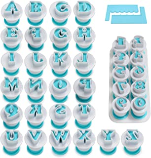 Alphabet & Numbers Fondant Cake Biscuit Mold, Cookie Stamp Impress, Alphabet Letters Cake Tool, Embosser Cutter, Upper Case Numbers Shape DIY Cookie Biscuit with with 2 Cake Scraper