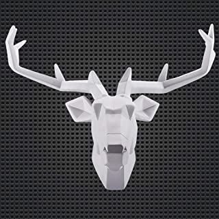WAF Faux Deer Head Wall Art Hand Finished Sculpture Animal Head Wall Hanging Resin Deer Head Home Decor House Warming Gifts- (White Deer1,Large)