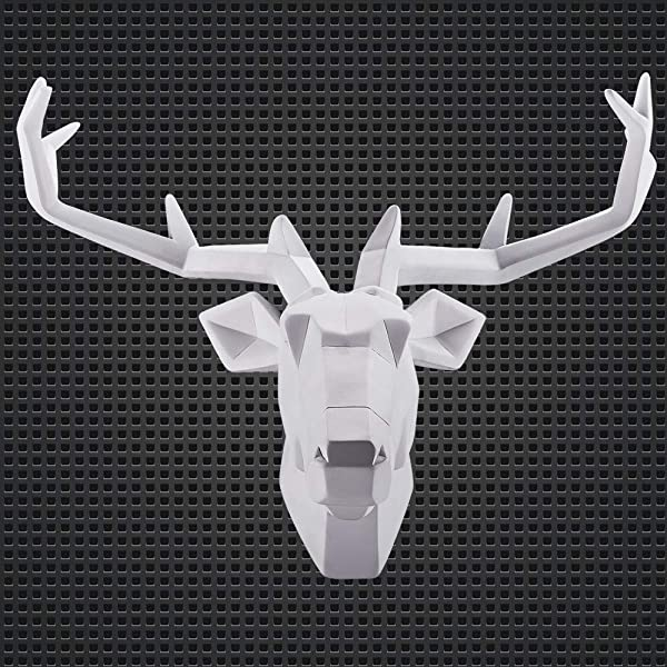 WAF Faux Deer Head Wall Art Hand Finished Sculpture Animal Head Wall Hanging Resin Deer Head Home Decor House Warming Gifts White Deer1 Large