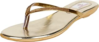 AUTHENTIC VOGUE Women's Branded Fancy Flat Slip On & Sandal In Gold Colour