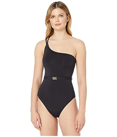 MICHAEL Michael Kors Logo Solids One Shoulder One-Piece (Black) Women