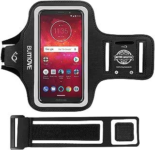 Moto Z3/Z4/G7/E5 Plus Armband, BUMOVE Gym Running/Workouts Arm Band for Motorola Moto Z4/Z3/Z2, Moto G7/G7 Power, Moto E5 Plus with Key/Card Holder (Black)