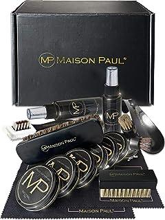 Maison Paul Kit d'entretien complet pour chaussure en cuir, daim, nubuck. Set de cirage et ensemble de nettoyage comprenan...