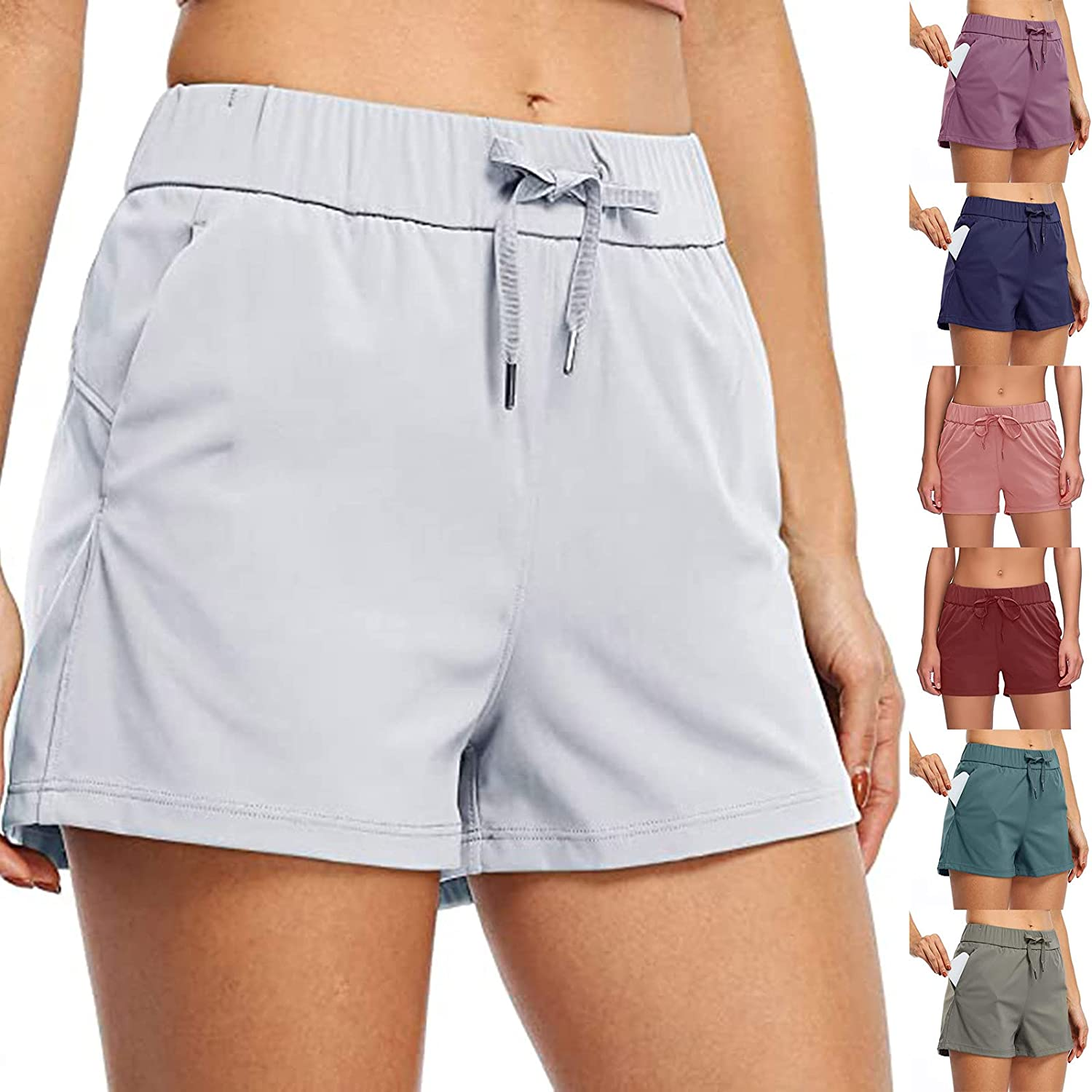 Women's Yoga Lounge Shorts Hiking Active Running Workout Shorts Comfy Travel Casual Shorts with Pockets