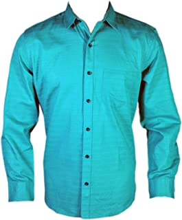 Spanish One Look Men Casual 100% Cotton Shirt in Blue self Jacquard Printed