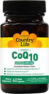 Country Life CoQ10, 100 mg, Vegetarian Capsule, 60-Count