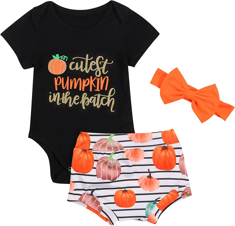 3Pcs Newborn Baby Girl Halloween Outfits Set Funny Letter Romper Bodysuit Tops Stripe Pumpkin Shorts Set