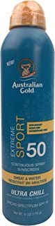 Australian Gold Extreme Sport Continuous Spray Sunscreen SPF 50, 6 Ounce   Broad Spectrum   Sweat & Water Resistant   Non-...