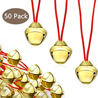 50 Pieces Bell Necklaces Jingle Gold Bell Necklaces for Christmas Holiday Party (Style 1)