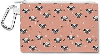 Geometric Pugs Canvas Zip Pouch - Multi Purpose Pencil Case Bag