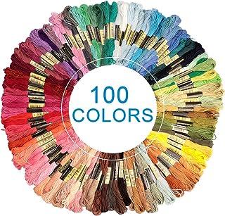 Eyscoco Stickgarn,Embroidery Floss Baumwolle Polyester Weicher Multifarben Knüpfgarn, Perfekt Garn für Freundschaftsbänder und Stickerei Basteln Leisure Arts 100