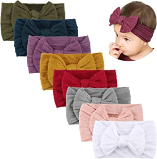 Makone Handmade Soft Stretchy Nylon Headband with Bows Knots Flowers for Infant Baby Girls