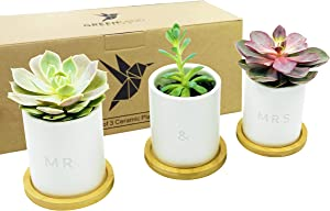 MR. & MRS. Ceramic Pots - 3.5 inch White Mini Succulent Cactus Planter Pot w/ Bamboo Tray & Drainage Hole - GreenMind Design Laser Engraved Set of 3 - Home Office Gift - Plants not Included