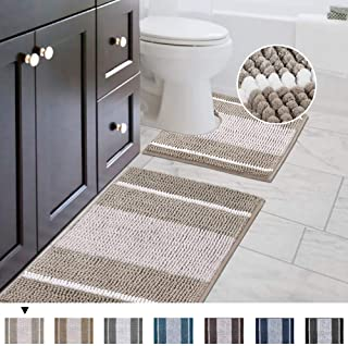 """Bath Mats Non Slip for Bathroom Rugs Soft, Absorbent, Shaggy Microfiber,Machine-Washable Dry Fast Bedroom Area Rugs Perfect for Door Mat (32""""x 20"""" and 20"""" x 20"""" U Shape, Taupe)"""