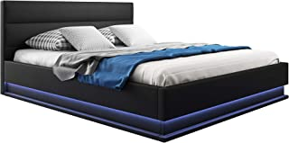 Canapé-lit Double Moderne Nitas avec sommier à Lattes pour Matelas 180x200cm Noir Design Italien avec LED Blanc