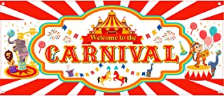 Carnival Banner 2019 Carnival Party Decorations for Carnival Party Supplies, Large 70.87 x 27.56 Inch Circus Decorations Fabric Carnival Backdrop