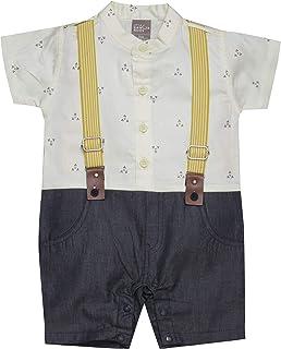 Little Kangaroos Baby Boy Formal Romper, Lemon - ROGS2019390A