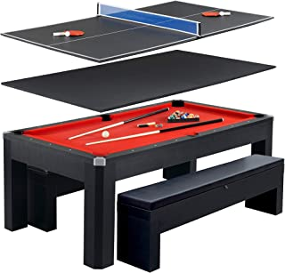 Hathaway Park Avenue 7' Pool Table Tennis Combination with Dining Top, Two Storage Benches, Free Accessories