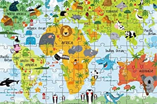 World Map Puzzle Q-Style Animal of The Colorful Floor Puzzle Recognition & Memory Skill Practice for Kids Educational Lear...