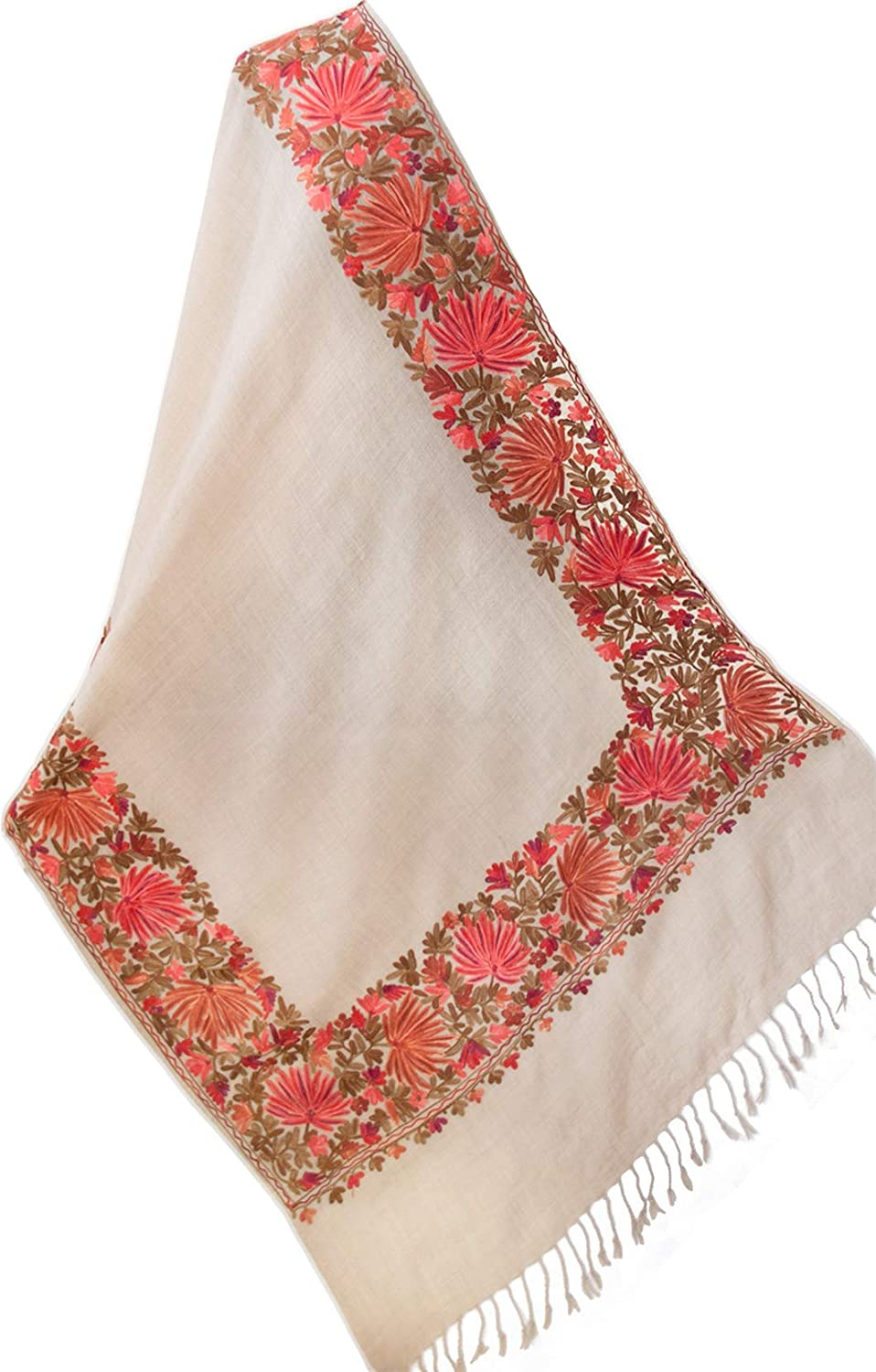 Beige Floral Embroidered Shawl Wool Wrap 84  x 29  Shades of Red & Brown