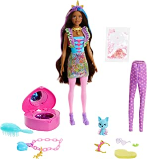 Barbie Color Reveal Peel Unicorn Fashion Reveal Doll Set with 25 Surprises Including Pink Peel-able Doll & Pet & 16 Myster...
