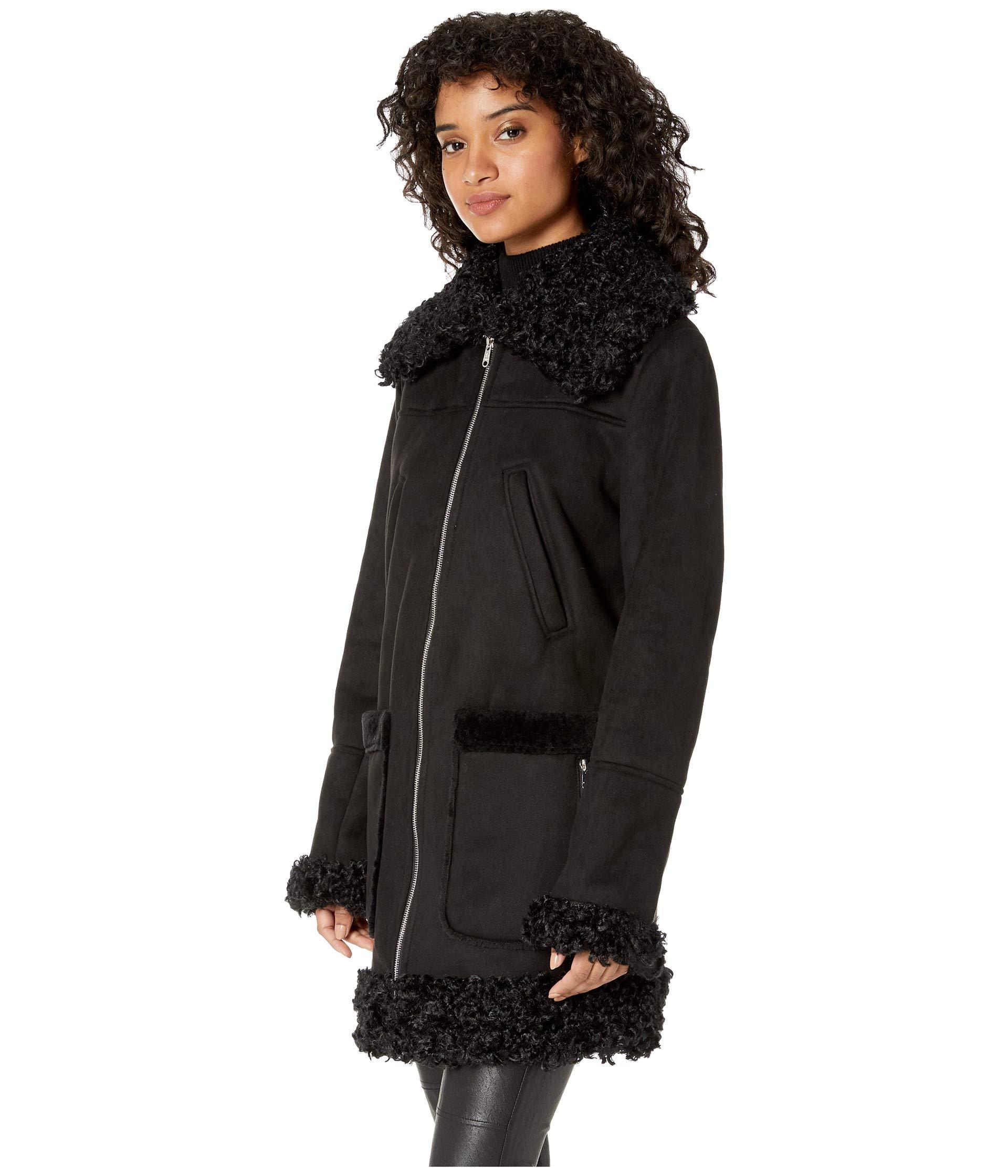 Sam Coat Edelman Faux Shearling 3 4 Black wngFxqw6Ap