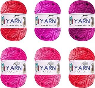Laine à crocheter - Laine acrylique pour tricot - Kit de tricot à la main - Laine épaisse pour crochet (mélange rose)