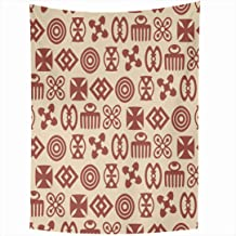 Ahawoso Tapestry 60x80 Inch West Energy Beige Sankofa Drawn Unity Hand Language Primitive Adinkra Brown African Ancient Love Proverb Africa Tapestries Wall Hanging Home Decor Living Room Bedroom Dorm