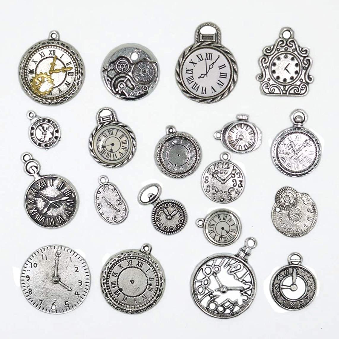 20pcs Mixed Antiqued Silver Charms Clock Face Charm Pendant, DIY Crafts, Gears, Jewelry Making, Steampunk Pendants