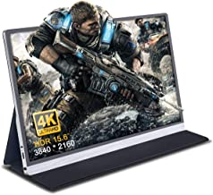 """4k Portable Monitor, Gaming Monitor for Xbox One PS4/3 Switch, 15.6"""" USB C Monitor for Smartphones, Ultra HD 3840 x 2160 Laptop Travel External Screen with Dual Speakers & Portrait Mode & HDR"""