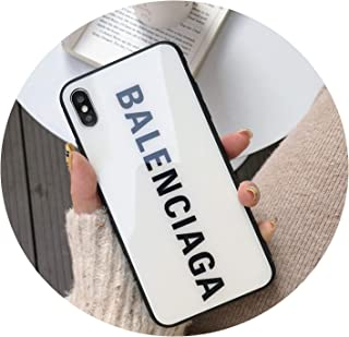 Luxury France Paris Brand Hard Soft Edge Glass Phone case for iPhone X XS Max XR 8 7 6 6S Plus Fashion BALENCI Sports Cover,1,for iPhone Xs