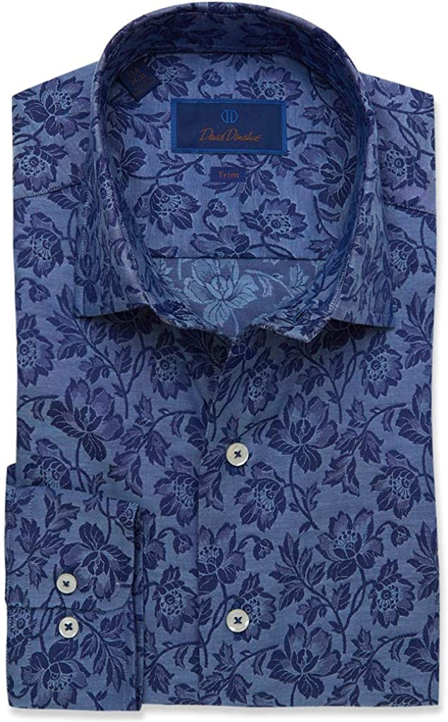 David Donahue Trim Fit Floral Fusion Shirt