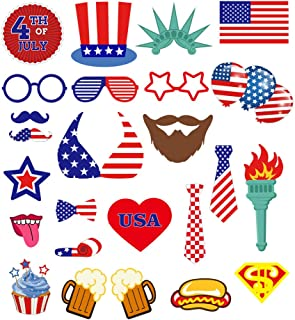 4th of July Photo Booth Props Patriotic Party American Independence Day Tropical Party Decorations Supplies for Kids and Adults 25pcs