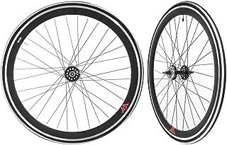 Stars-Circle Fixie Freewheel Track Wheel Wheelset Deep +Tires White or Black