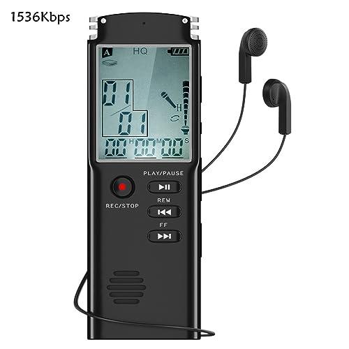 Dictaphone Numérique , AOGUERBE 8Go Enregistreur Vocal Portable Audio Voice Recorder Activation Vocale avec LCD Ecran