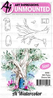 Art Impressions Watercolor Cling Rubber Stamps-Fairy Doors