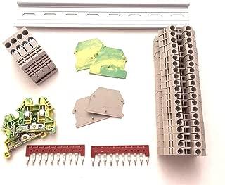 Dinkle DIN Rail Block Kit #2 DIN Rail Terminal Block Kit Dinkle 20 DK4N 10 AWG Gauge Ground DK4N-PE Jumper DSS4N-10P End Covers End Brackets,30 Amp, 600V