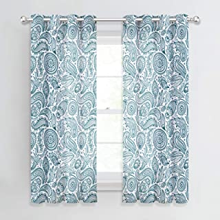 NICETOWN Boho Semitransparent Paisley Curtains - Faux Linen Flax Sheer Draperies, Boho Medallion Sunflower Print Window Coverings for Kids/Nursery Room (52 x 63 Inch, Teal, 2 Panels)