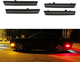 iJDMTOY Smoked Lens Amber/Red Full LED Side Marker Light Kit For 2015-18 Dodge Challenger, Powered by Total 180-SMD LED, Replace OEM Sidemarker Lamps