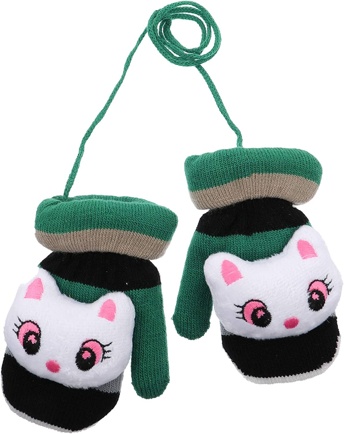 SOIMISS Toddler Mittens on String Winter Warm Knit Mittens with String Plush Fleece Lined Cartoon Animal Gloves Magic Ski Gloves Mittens for Infant Baby Style 1