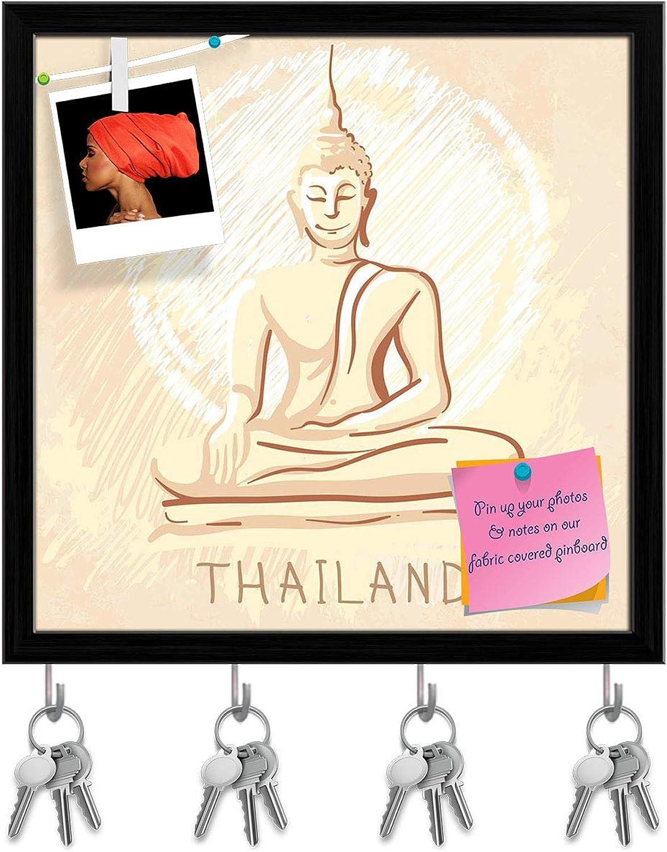 Artzfolio Sitting Buddha Thailand Key Holder Hooks   Notice Pin Board   Black Frame 20 X 20Inch