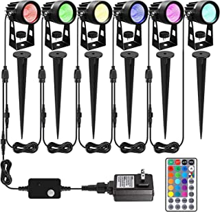 ALOVECO Landscape Lighting, 12V RGB LED Landscape Lights Remote Control, 16 Colors Changing Waterproof Adjustable Garden L...