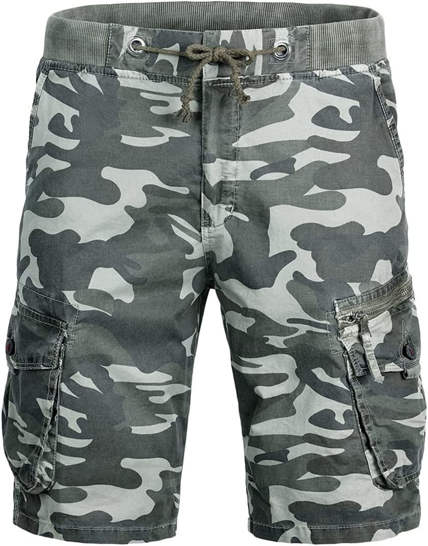 Men's Elastic Waist Drawstring Camo Cargo Short Multi-Pockets Jogger Shorts Casual Outdoor Cotton Stretch Short Pant (Green,30)