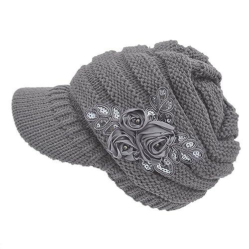 46d36136fae315 HugeStore Women Ladies Winter Crochet Peaked Beanie Cap Hat Knitted Skull  Cap Grey