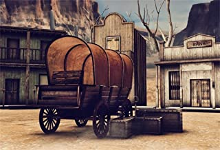 AOFOTO 10x7ft Vintage Western Street Town Backdrop Wild West Wooden Cart Crates Retro Bank Aged Cabin Photography Background Old Wood Saloon Gold Rush Miner Photo Studio Props American History Culture