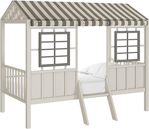 Little Seeds Rowan Valley Forest Loft Bed Grey Taupe Twin