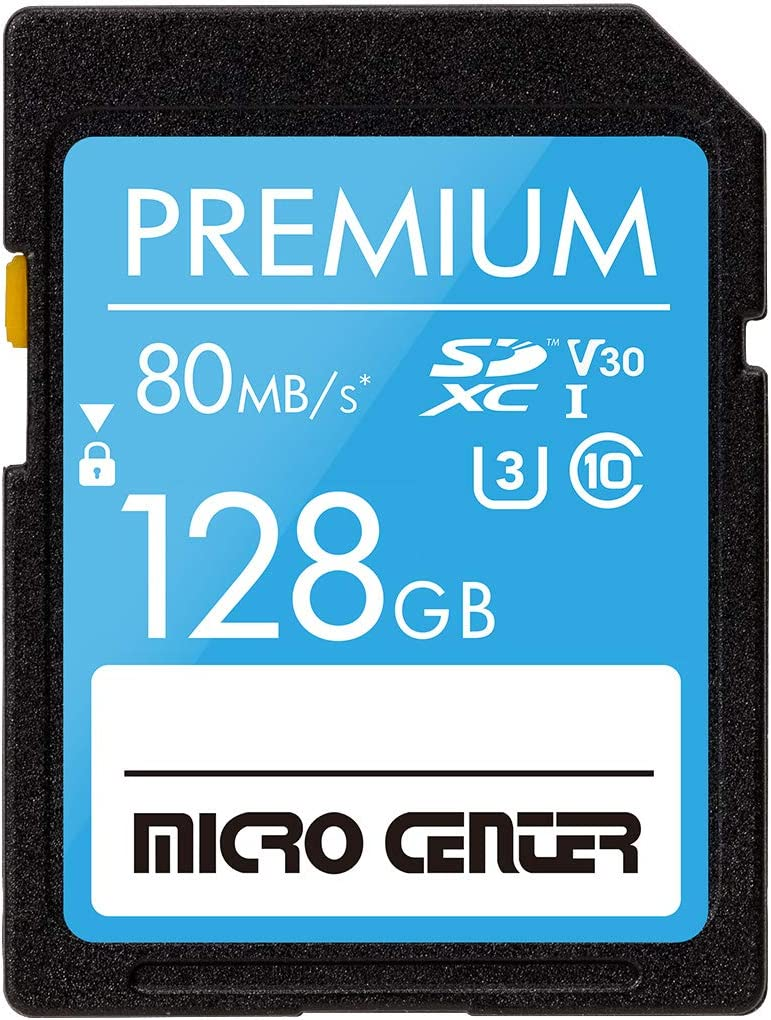 Premium 128GB SDXC Card by Micro Center, Class 10 SD Flash Memory Card UHS-I C10 U3 V30 4K UHD Video R/W Speed up to 80/60 MB/s for Cameras Computers Trail Cams (128GB)